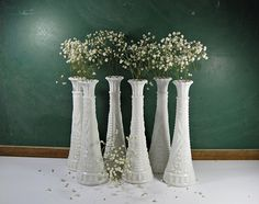 #wedding  Vintage MILKGLASS VASES Set/6 WEDDING Taper Milk Glass Bud Vase Stars & Bars Anchor Hocking by LavenderGardenCottag on Etsy
