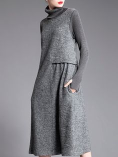 99c1e5b6ca Buy Sweater Dress For Women from Fanny.Wiz at Stylewe. Online Shopping  Stylewe Plus Size Gray Sweater Dress Shift Daytime Dress Long Sleeve Casual  Paneled ...