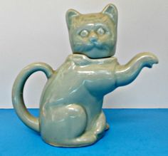 Ceramic Cat Teapot, Cat Creamer, Collectable Cat Item, Vintage Porcelain Cat Tea Pot, Kitty Pitcher,Soft Green Cat Creamer, Made in China