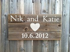 Personalized 12 inch by 24 inch Rustic Cedar Wedding / Anniversary Sign. $25.00, via Etsy.