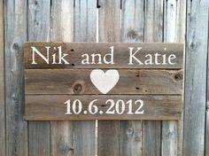 Personalized 12 inch by 24 inch Rustic Cedar Wedding / Anniversary Sign. $25.00, via Etsy.