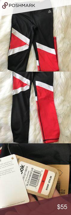 Tri-colored Reebok Leggings Adorable tri-colored black, white, and red colored Reebok sports wear leggings. Size small in women's. Reebok Pants Leggings