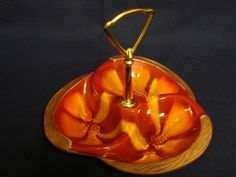 Retro 3 Section Divided Nut Tray Dish w/ Handle Orange Swirl 618 Calif. Pottery  #CaliforniaPottery