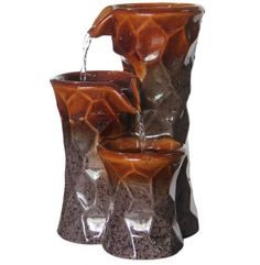 Look at this Three-Tier Ceramic Tabletop Fountain on today! Patio Fountain, Tabletop Water Fountain, Garden Water Fountains, Ceramic Pots, Ceramic Table, Indoor Tabletop Fountains, Fountains For Sale, Indoor Water Features, Tiered Garden