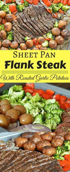 Creative Sheet Pan Recipes This Sheet Pan Flank Steak with Garlic Roasted Potatoes is a perfect option if you are in a hurry and don't want to clean up a big mess. Check it out today. Flank Steak Recipes, Meat Recipes, Dinner Recipes, Cooking Recipes, Healthy Recipes, Water Recipes, Paleo Dinner, Dinner Menu, Salads