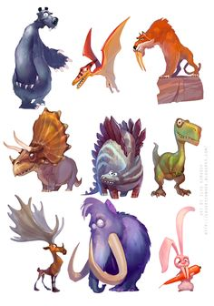 Pin by animators resource - on animal/creature character ref Character Drawing, Character Illustration, Art And Illustration, Cartoon Styles, Cartoon Art, Dinosaur Art, Cute Monsters, Creature Concept, Character Design References