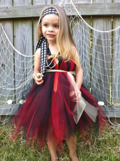 Arrrrg!! Pirate Tutu Dress! #tutu #dress #halloween #costume #red #black #pirate