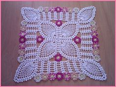 Crochet Tablecloths for Decoration - Free Diagram Art Au Crochet, Crochet Ripple, Crochet Motifs, Crochet Diagram, Thread Crochet, Crochet Stitches, Crochet Doily Patterns, Crochet Designs, Crochet Doilies