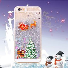 New Christmas Gift Phone Cases For iphone 6 Case 4.7 Lovely Santa Claus Tree Snowman Glitter Star Liquid Transparent Clear Cover