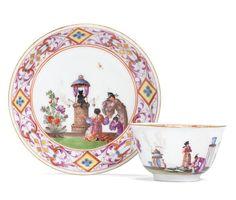 A rare Meissen teabowl and saucer, circa 1725-30