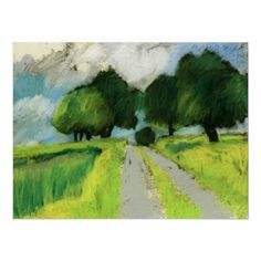 Oil pastel road-scape with trees and clouds