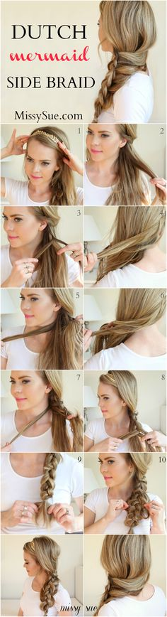 Braid 8-Dutch Mermaid Side Braid #hairstyles #BraidedHairstyles #video