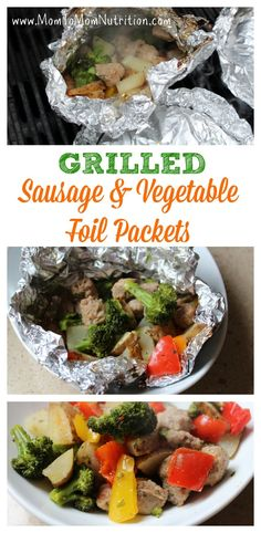 An easy and healthy recipe for grilled sausage vegetable packets. A main-dish meal that everyone will enjoy! Dinner Dishes, Food Dishes, Main Dishes, Grilling Recipes, Seafood Recipes, Cooking Recipes, Freezer Cooking, Cooking Tips, Summer Salad Recipes