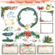Christmas Frames, Wreaths- digital printable watercolor item - 300 dpi PNG, transparent background di Scrapstorybook su Etsy https://www.etsy.com/it/listing/214179257/christmas-frames-wreaths-digital
