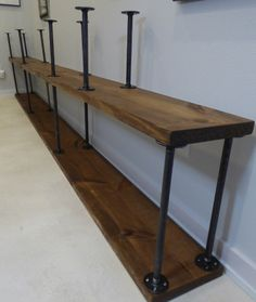 Assembly in progress. x iron pipes on bottom, x on the next level. Industrial, Wood, Contemporary Bookcase, Bookcase, Staining Wood, Furniture, Contemporary, Home Decor, Entryway Tables