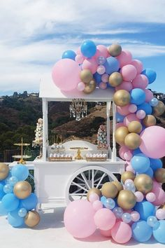 Beautiful baby shower candy cart styled by Gender Reveal Balloons, Gender Reveal Party Decorations, Baby Gender Reveal Party, Balloon Decorations Party, Birthday Party Decorations, Balloon Garland, Balloon Tower, Baby Shower Candy Table, Baby Shower Balloons