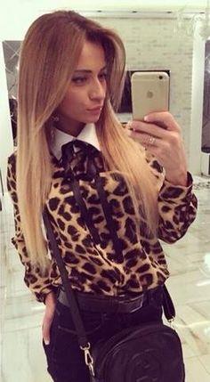 Leopard Grain Turn-down Collar Long Sleeves Slim Blouse