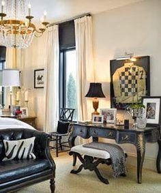 Formal equine bedroom with framed Jockey Silk's
