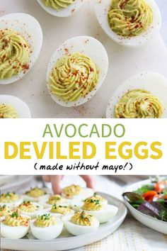 Recipes Paleo These AVOCADO DEVILED EGGS are a healthy recipe, made with avocado instead of mayo. (But you can't taste it at all!) Perfect for a Paleo & Dairy-free brunch! Deviled Eggs No Mayo, Healthy Deviled Eggs, Deviled Eggs Recipe, Avocado Recipes, Egg Recipes, Cooking Recipes, Cooking Ideas, Food Ideas, Healthy Appetizers