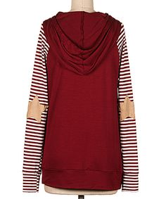 Another great find on #zulily! Burgundy Stripe-Sleeve Elbow Patch Hoodie by Fashionomics #zulilyfinds