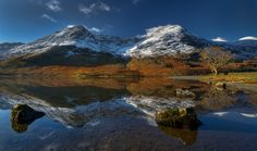 Snow covered High Stile and High Crag reflected in the calm waters of Buttermere.