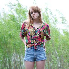 Vintage Tropical Floral Hawaiian Shirt - L
