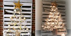 Find eco-pallet, nice Christmas ornaments and light to form shining Christmas tree.