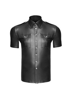 Sexy Men's Faux Leather Police Wetlook Tight shirts Cosplay Gay Wet Look Wet Look, Gay Costume, Police, Sexy Gay Men, Eco Clothing, Uniform Shirts, Fancy Costumes, S Shirt, Clubwear