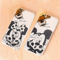 Hot Mirror Style Cute Sweet Mickey Minnie Mouse Capa Soft TPU Phone Cases Cover For iPhone 5 5G 5S SE 6 6G 6S 4.7 6Plus 5.5 Inch