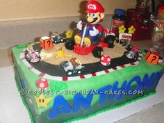 Coolest Mario Kart Birthday Cake... This website is the Pinterest of birthday cake ideas