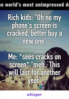 """Rich kids: """"Oh no my phone's screen is cracked, better buy a new one""""  Me: *sees cracks on screen* """"meh.. This will last for another year"""""""