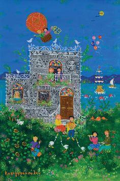 Contemporary Decorative Art, Naive Art, Flower Art, Mythology, Folk Art, City Photo, Scenery, Objects, Windows