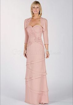 Chiffon Sweetheart Tiers with pink Wrap Mother of the Bride Dresses picture 1
