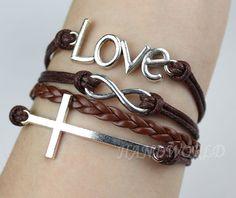 Silvery Love Bracelet Cross Bracelet Infinity Karma Bracelet Wish Bracelet Charm Bracelet Gift -N1070