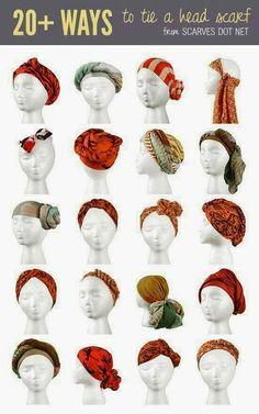 Diferentes formas de usar un pañuelo en la cabeza