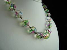 Vintage Faceted Rainbow Iris Glass Bead Necklace
