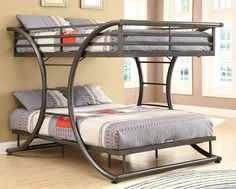 """FULL OVER FULL BUNK BED IN DARK GUN METAL. CURVED DESIGN WITH TWO BUILT IN BILATERAL LADDERS. CONSTRUCTED OF STRONG 2 INCH METAL TUBING. FULL/FULL BUNK BED: 82.00"""" W X 60.75"""" D X 65.00"""" H"""