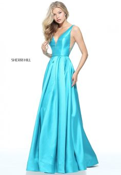 # 51120 Sherri Hill Mikado ball gown with cut out sheer sides.
