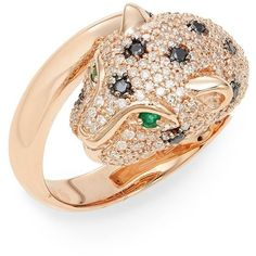 Effy Effy Emerald, Black & White Diamond & 14K Rose Gold Cat Ring (135.835 RUB) ❤ liked on Polyvore featuring jewelry, rings, 14 karat white gold diamond ring, rose gold emerald ring, rose gold rings, 14 karat gold jewelry and 14k rose gold ring