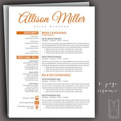 Resume Template and Cover Letter Template by MYPAPERPIG on Etsy Thank You Letter Template, Cover Letter Template, Cover Letter For Resume, Cover Letters, Resume Writing Tips, References Page, Social Media Icons, Creative Resume Templates, Describe Yourself