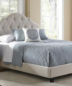 Look at this Cream Upholstered High-Back Full/Queen Bed Frame on #zulily today!