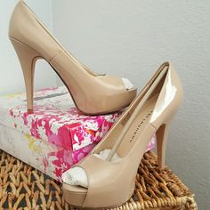 Nude Patent Leather Heels Brand new, NIB, never worn. Tried on, but the heel is too high for me. 4 inch heel, plus 1 inch platform.  Very lovely shoes. Chinese Laundry Shoes Platforms