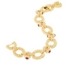 Jacqueline Kennedy Gold Tone Rope Design & Crystal Link Bracelet #JacquelineKennedy #Link