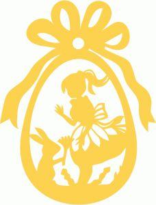 Silhouette Design Store - View Design #57659: easter egg girl bunny