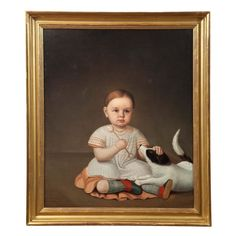 Ulysses D. Tenney | Portrait of a Child with Dog (circa 1844-1849)