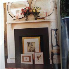 Frames in unused fireplace - Modern Design Unused Fireplace, Fireplace Frame, Dining Room Fireplace, Fireplace Cover, Faux Fireplace, Modern Fireplace, Fireplace Mantels, Fireplace Decorations, Fireplace Ideas