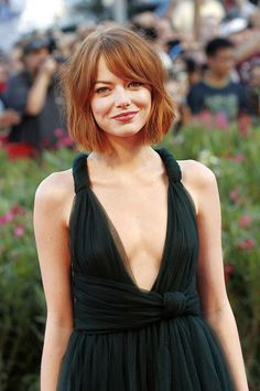 "Emma Stone is known for being a hair-color chameleon, but she always has a flattering cut, too. ""Blunt bobs at any length are great to help hair look thicker,"" says Batanovic. And this bob certainly does the trick."