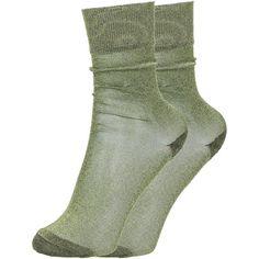 Vicka Metallic Socks (170 PLN) ❤ liked on Polyvore featuring intimates, hosiery, socks, green, ankle length socks, ankle high socks, green socks, metallic socks and isabel marant