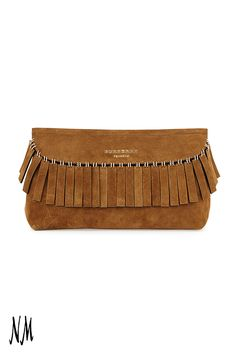 Your wardrobe could use a touch of fringe. This Burberry Suede Clutch adds an earthy accent to any outfit. #NMhandbags