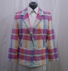 Vintage Plaid Blazer Jacket Pastels Pink White Woven Box Cut Small to Medium #BobbisClosetCollection #Blazer